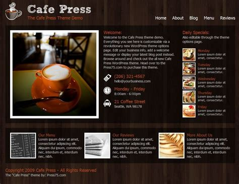 cafepress shop templates free themes for restaurants cafe cooking food