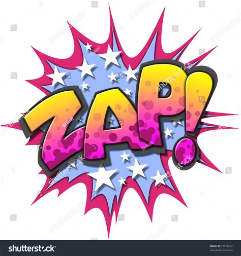 zap comic book illustration isolated  white background