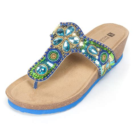 white mountain sandals white mountain shoes brightspot blue multi sandal
