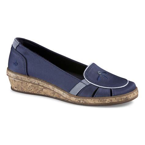 grasshoppers s geri navy wedge shoe wide width