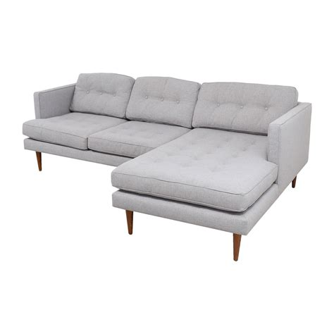 chaise tufted 39 off west elm west elm grey tufted chaise sectional