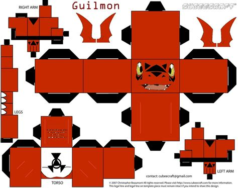Digimon Papercraft - guilmon cubee by requestmaster on deviantart