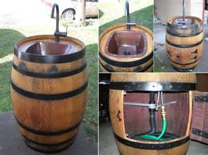 Half Wine Barrel Table by Outdoor Sink Made Of A Wine Barrel Icreatived