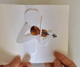 Paper Violin Template by Printable Violin Pop Up Card Shows Violinist Bowing