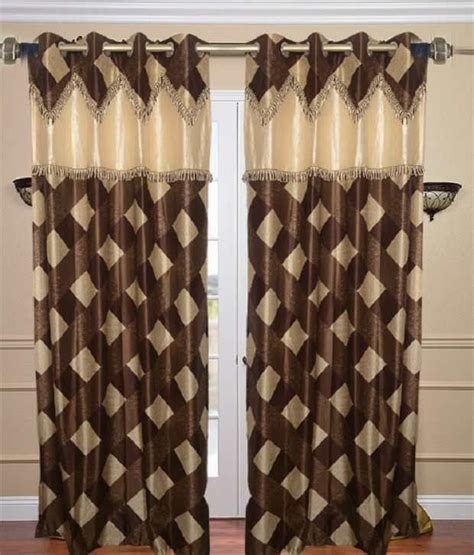 brown check curtains homefab india designer brown check curtain 5 feet buy