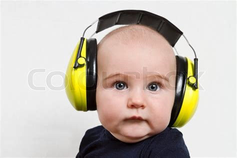 sound blocking headphones for babies baby with ear protection stock photo colourbox