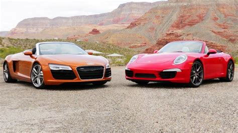 Audi Vs Porsche by 2014 Audi R8 Spyder Vs 2013 Porsche 911 Carrera S