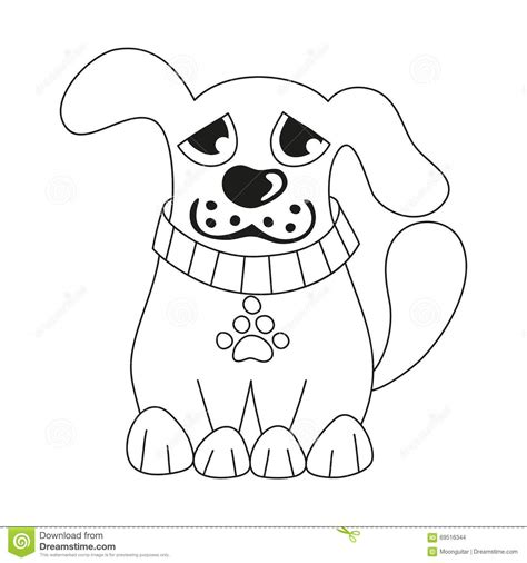 dog collar coloring page cartoon puppy coloring book page for children stock