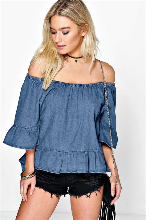 Rufle Top shoptagr the shoulder denim ruffle top by boohoo