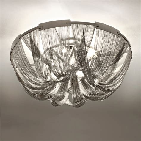italian designer silver chain ceiling light