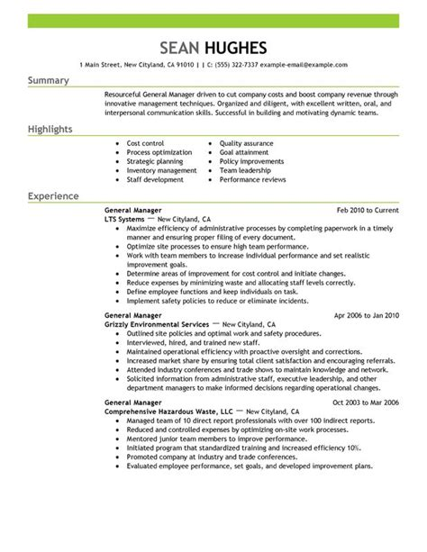 Exle Of General Resume General Manager Resume Exles Created By Pros