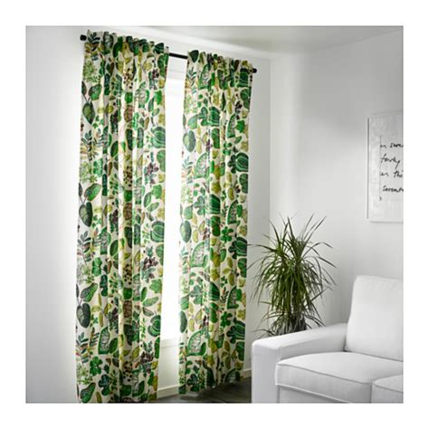 white and green curtains syssan curtains 1 pair white green 145x300 cm ikea