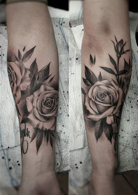 gray rose tattoo black and gray artist janissvars