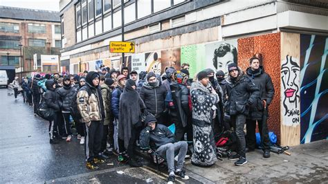 photos of the hundreds of who lined up overnight to buy the new supreme collection vice