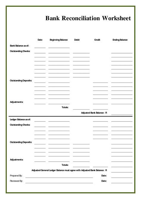 blank bank reconciliation template sle customer service