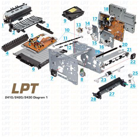 Fuser Pressure Roller Hp Lj 2420 2400 2410 2420 2430 Lower Roll parts diagram for laserjet 2410 2420 2430 click to order