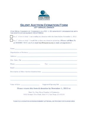 silent auction donation form template donation receipt letter template forms fillable