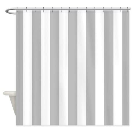 White And Gray Shower Curtain gray and white vertical stripes shower curtain by