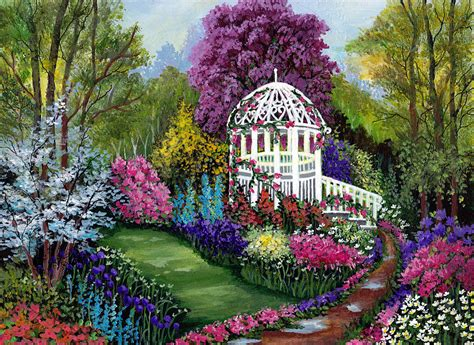 Spring Painting Ideas by Paradise Garden Painting By Bonnie Cook