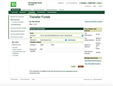 transfer money to european bank account visa direct send money td canada trust