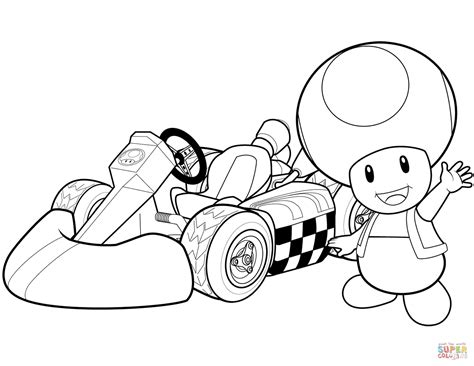 toad in mario kart wii coloring page free printable