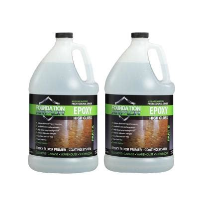 foundation armor epoxy 2 gal water based clear high gloss