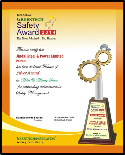 safety award certificate template awards recognitions jindal steel power ltd