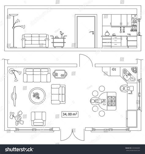 floor plan objects architectural set furniture objects building plan stock
