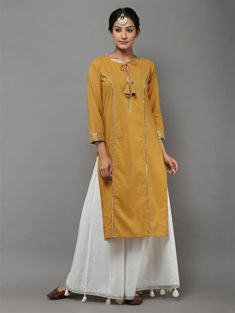 pattern to stitch kurta mustard cotton gota kurta fashion ideas sew n no sew