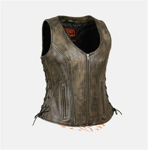 best womens biker women s brown leather vest fat black