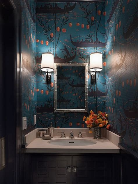 powder room wallpaper wallpaper for powder rooms asian bathroom lowengart interiors