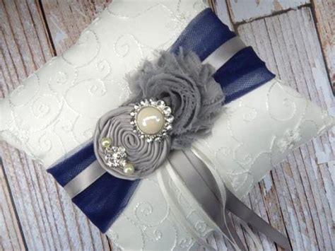 Navy Blue Ring Bearer Pillow - ring bearer pillow grey navy blue ring bearer pillow