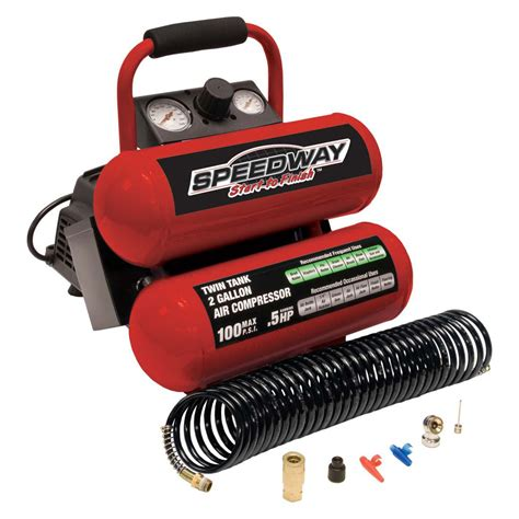 speedway start to finish 2 gallon free stack portable air compressor with built in