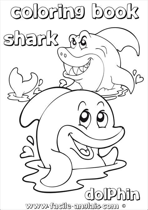 Coloring Dolphin and Shark (Coloriage avec un Dauphin et