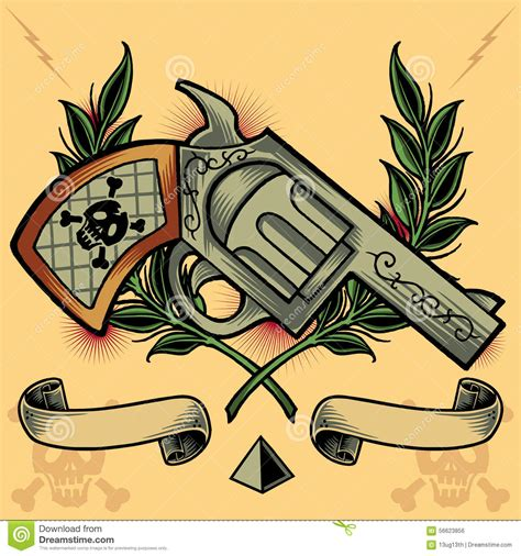 old school tattoo zaragoza opiniones gun wreath ribbons and pyramid stock vector image