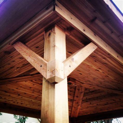 covered porch gusset design pergola tongue  groove