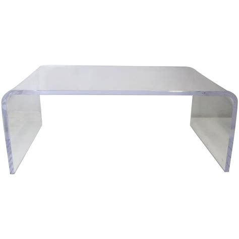 Waterfall Coffee Table Thick Lucite Waterfall Coffee Table At 1stdibs