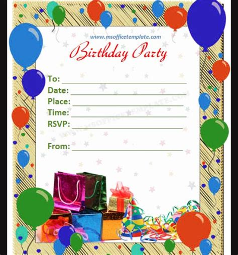 word birthday invitation template 5 images several different birthday invitation maker