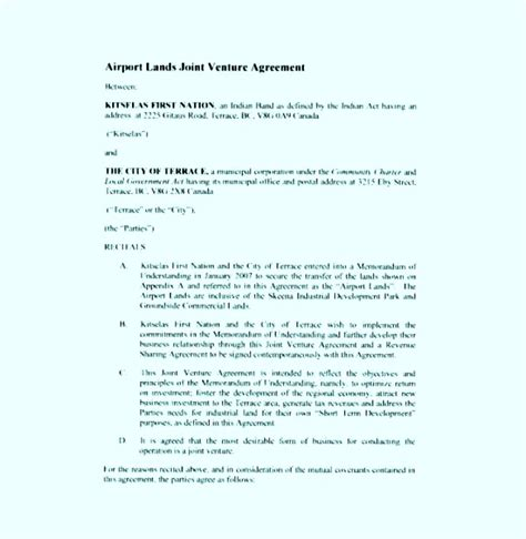 joint venture agreement template pdf airport lands joint venture agreement pdf format sle