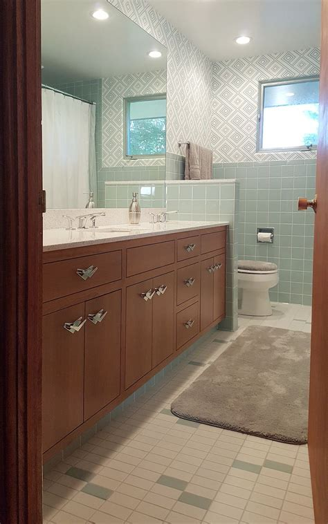 a new blue bathroom for a 1955 house that looks like it s
