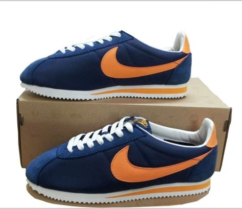 Nike Classic Cortez Blue Navy Orange nike cortez classic navy orange trainers cheap