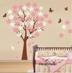 blossom cherry tree wall decal baby girl nursery bedroom playroom pink with birds and nest vinyl simspleshapes