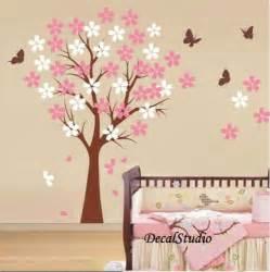 Blossom cherry tree wall decal baby girl nursery bedroom playroom pink
