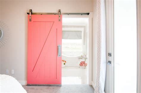 Painted Sliding Barn Door In Red For Closet Decofurnish Painted Barn Doors