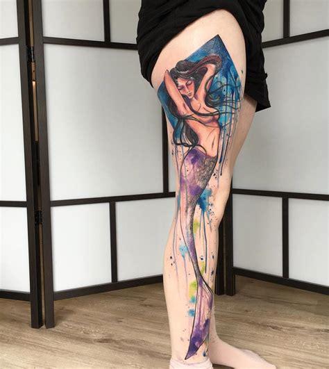 mermaid full leg watercolor best tattoo design ideas
