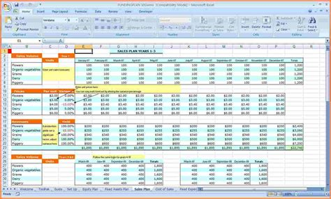 business plan excel template 7 business plan spreadsheet template excel excel