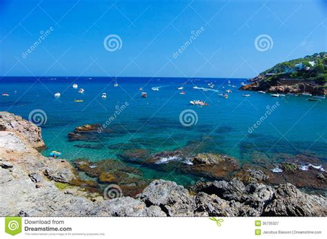 small boat in spanish cove costa brava spain royalty free stock photography