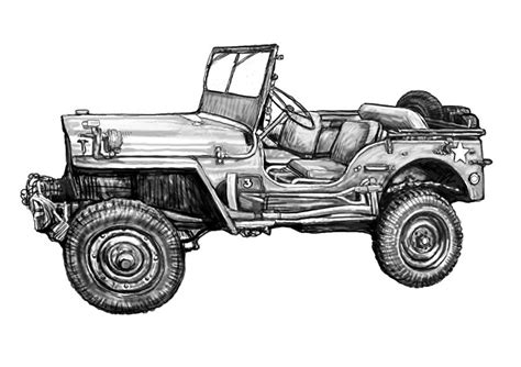 army jeep drawing jeep in 2 drawing poster painting by