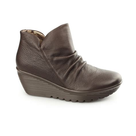 skechers parallel universe leather wedge ankle