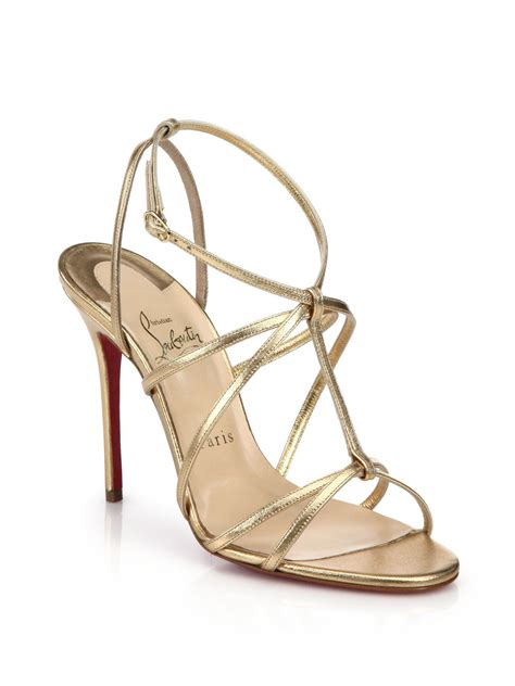 christian louboutin sandals lyst christian louboutin youpiyou metallic leather